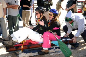 Photos By Paul Purpura : ©2009 NCL Magazine : Contestants in this year's sled race at Wintergreen show there's more than one way to head down the slopes!
