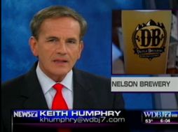 Screen grab courtesy of WDBJ-TV Roanoke, Virginia : WDBJ anchor, Keith Humphry, introduces a TV News segment on Devils Backbone Brewery in Nelson County, Virgina