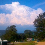©™ 2012 Photo By NCL Mountain Photographer Paul Purpura Cumulonimbus Cloud (Thunderstorm) as seen looking NE from near The Evans Center Tent. He took the picture Monday afternoon as thunderstorms were moving across portions of Albemarle County.