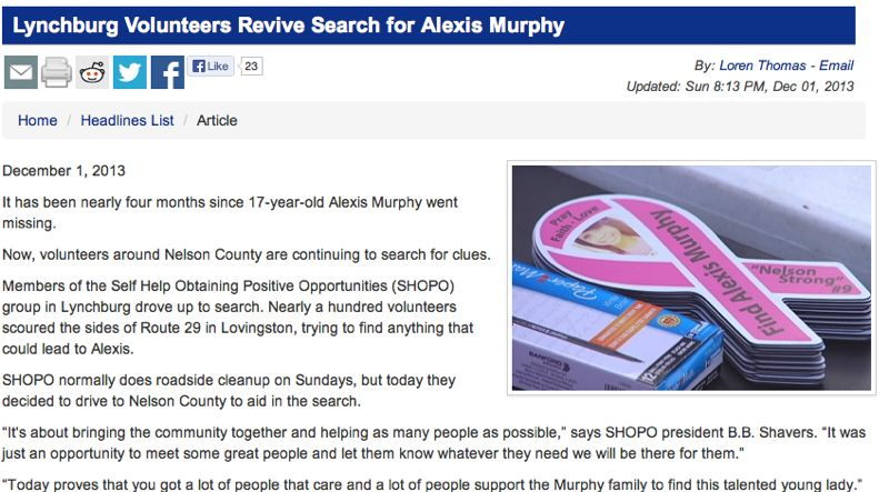 Volunteers Hold Sunday Search For Missing Teen Alexis Murphy : Via CBS-19