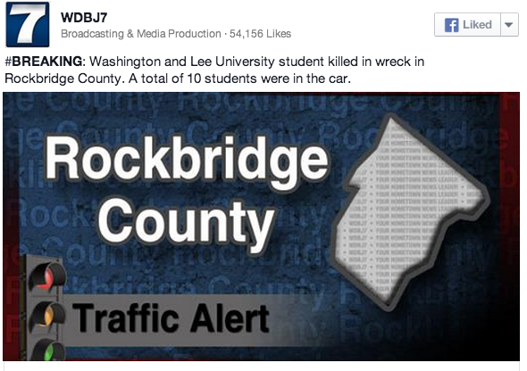 Rockbridge: Washington & Lee University Student Killed In Wreck - Total of 10 Students In Car. - Via WDBJ7