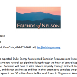 Friends Of Nelson / Augusta Alliance :  Respond To Governor McAuliffe's Support For Dominion Gas Pipeline
