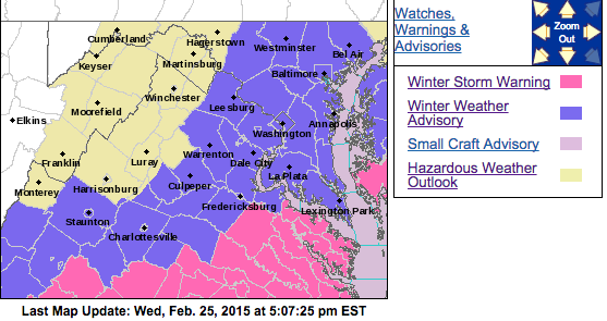 Winter Storm Warning / Advisories Overnight For Most Of Area : Snow Accumulation Likely : UPDATED 5:12 PM : 2.25.14