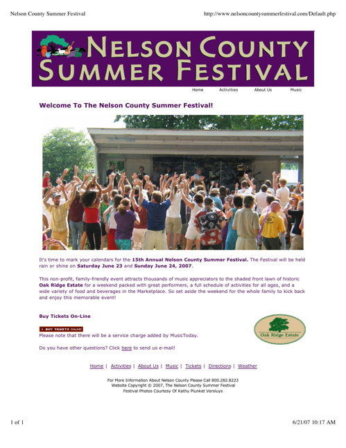 Datebook: Oak Ridge - Nelson County Summer Festival - This Weekend!