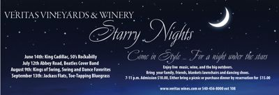 DATEBOOK : AFTON : Starry Nights Continues @ Veritas Winery : July 12th