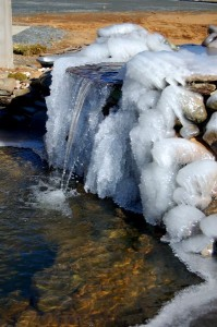 Photo By Tommy Stafford : ©2008 NCL : Ice jams the fountain waterfall at Devils Backbone Brewery near Wintergreen, Virginia.