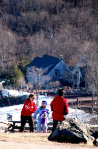 ©2008 NCL Magazine : A family poses for a photo at Founders Vision Overlook at Wintergreen Resort, Virginia