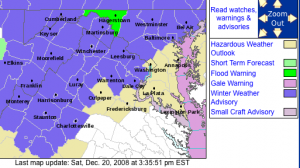 A screen grab of the NWS Winter Weather Advisory area that will take effect starting at 11 PM EST Saturday night 11.20.08