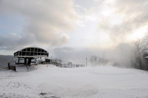 Snow machines fire up at sunrise on Wintergreen Mountain