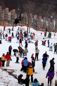 The slope just outside of the Mountain Inn was packed Friday afternoon with skiers and snowboarders.