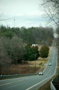 Off to the left in this photo (west of Route 151) a crew can be seen in the distance working on the single monopole that holds the antennas.
