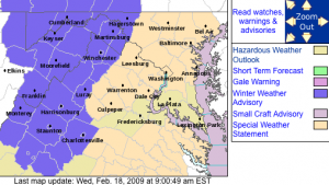 The WWA area highlighted in purple by the NWS.