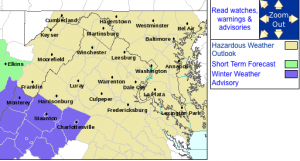 The Winter Weather Advisory area in effect until 10AM EDT for the areas highlighted in purple, via NWS.