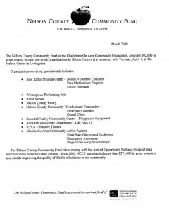 Click the above image for larger view of the organizations receiving grants in 2009.