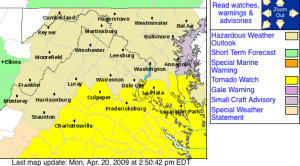 The Tornado Watch area is highlighted in yellow. Graphic via The National Weather Service.