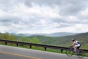 Photos By Paul Purpura : ©2009 NCL Magazine : A rider heads up the steep grade in the 2009 Wintergreen Ascent Bike Race. Click on any image for larger version.