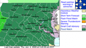 Flood Watch through Friday afternoon for the areas shaded in green, including Nelson County, Virginia. Via NWS - Click image for larger view.