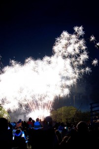 Photo By Diana Garland : ©2008-2009 NCL Magazine : Folks enjoy the fireworks display at Wintergreen during the 2008 July 4th show.
