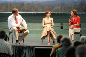 Larry Smith of WPA (left)  Virginie Mecene (middle) and Peggy Lyman Hayes with The Graham School of Dance chat informally during a warmup before Sunday's final performance at Wintergreen.