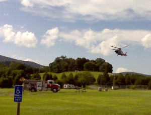 Chopper lands to airlift victims from car crash on Rt. 6. Photo by: Tommy Stafford. © 2009 NelsonCountyLife.com