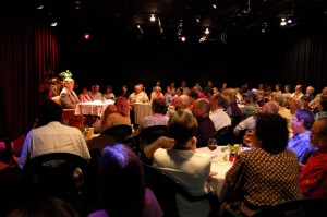 Earl Hamner speaks to a packed house during his March 2007 visit to the theater in Afton, Virginia named in his honor.
