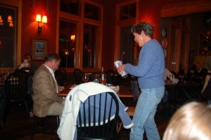 Many prizes were given away Thursday night including commerative beer glasses and t-shirts.