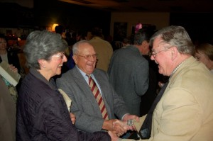 Photos By Tommy Stafford : ©2009 www.nelsoncountylife.com : Mr. & Mrs. Paul Saunders (left) chat it up with Nelson County native, Earl Hamner, Jr. Thursday night during his homecoming at The Hamner Theater in Afton. : Click any photos to enlarge.