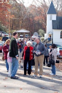 Photos By Tommy Stafford : ©2009 www.nelsoncountylife.com : Earl Hamner, Jr (right) walks with Carolyn Grinnell, President of The Waltons Int'l Fan Club, from his boyhood church Saturday morning in Schuyler. Virginia. : Click on any photos to enlarge.