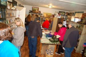Folks pile into The Waltons Mountain B & B Gift Shop Saturday during Earl's visit back to Schuyler.