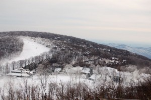 Snow making in full gear at Wintergreen Resort as seen from Founders Vision Overlook.