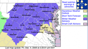 Via The NWS : A Winter Weather Advisory will start Saturday morning at 5AM until 7PM, highlighted in purple. Click to enlarge.