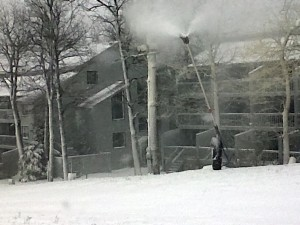In addition to mother nature, man kicked in and started making snow this weekend at Wintergreen Resort.