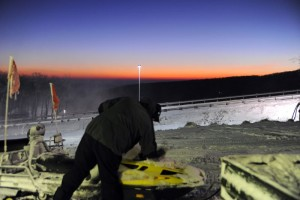 Photo By Paul Purpura : ©2009 www.nelsoncountylife.com : Checking the slopes in dawn's early light at Wintergreen Resort.