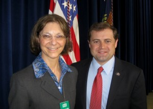 House Photo : ©2009 www.nelsolncountylife.com : BRMC Executive Director , Peggy Whitehead, and VA Congressman Tom Perriello at Wednesday's announcement of the 5 million dollar grant for the center.