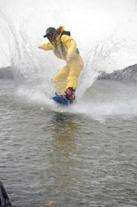 In this next sequence Paul grabbed shots of snowboard instructor, Byron Humphries, doing a 360° turn on the pond.