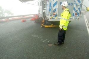 Wintergreen Fire & Rescue Chief, Curtis Sheets, stands near the marking on the pavement where the shootings took place on April 6, 2009.