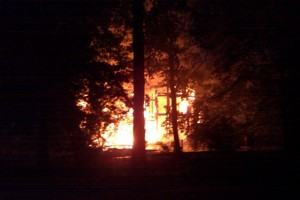 Photo Courtesy of John Holman : ©2010 www.nelsoncountylife.com : A huge glow lit up the early morning sky in Stoney Creek when this house at  21 Blue Chickory Lane went up in flames.