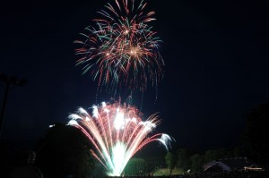 In 2009 low clouds made it tough to have a great display, but not this year. Skies were clear with fireworks all around!