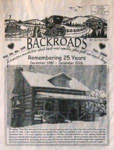 Backroads Founder & Author Needs One Final Issue : March 1984!