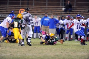 Andre Thompson, senior, (85) recovers a fumble for Nelson.
