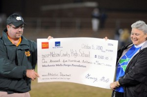 All Photos By Paul Purpura : ©2010 www.nelsoncountylife.com : One of the bright spots at the Govs game against Dan River was this $1500.00 check presented to the NCHS Athletic Department by Danita Harris of Wachovia Bank in Nellysford. Click on any photo to enlarge.