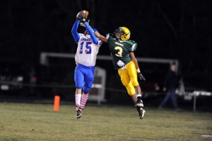 Jerome Glover, NCHS, (3) trying to deflect a pass to Justin Gunter, Dan River, (15).