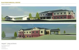 A rendering of what the completed Blue Ridge Medical Center will look like when finished. The original building is on the left. Drawing courtesy of Daggett + Griggs Architects, Charlottesville.