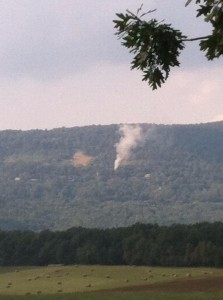 Photo Courtesy of Chipper Morris - Afton VA - A plume of smoke could be seen Sunday afternoon from Tanbark Drive - this is looking north toward Route 250 on Afton Mountain. - Crews responded to a camper on fire there.