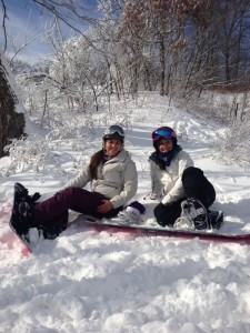 ©™2013 Haley Rorrer of Afton, VA (left) & Kaleigh Smith of Roseland (right) take a break on the slopes Saturday afternoon at Wintergreen Resort. The season kicked off about 2 weeks earlier than anticipated due to extra cold temperatures and additions to the snowmaking system last year.