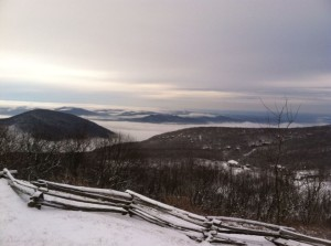 Photo Courtesy of Kimberly Dawn : Light snow fell overnight across much of Central Virginia. This is a shot taken by Kim Dawn walking up to Devils Knob at Wintergreen Resort on Saturday morning - December 14, 2013.