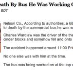 Nelson Man Killed After Bus Falls On Him : Via ABC-13 Lynchburg