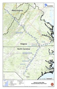 Via Nelson County, VA Administrator's office: A Map showing the proposed pipeline that would run from West Virginia to North Carolina.