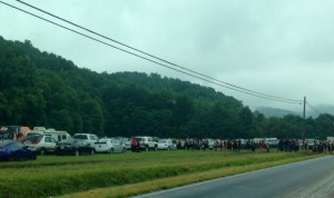 Cars and buses eventually got stuck in a field adjacent to Route 664 in Beech Grove where the staging area was for the Spartan race.