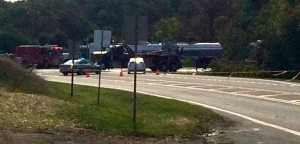 ©2014 Blue Ridge Life : Photo Courtesy of Ian Callahan : Route 250 and 151, near that intersection, remained partially closed as of  Saturday morning after a large tanker truck carrying several thousand gallons of milk overturned.
